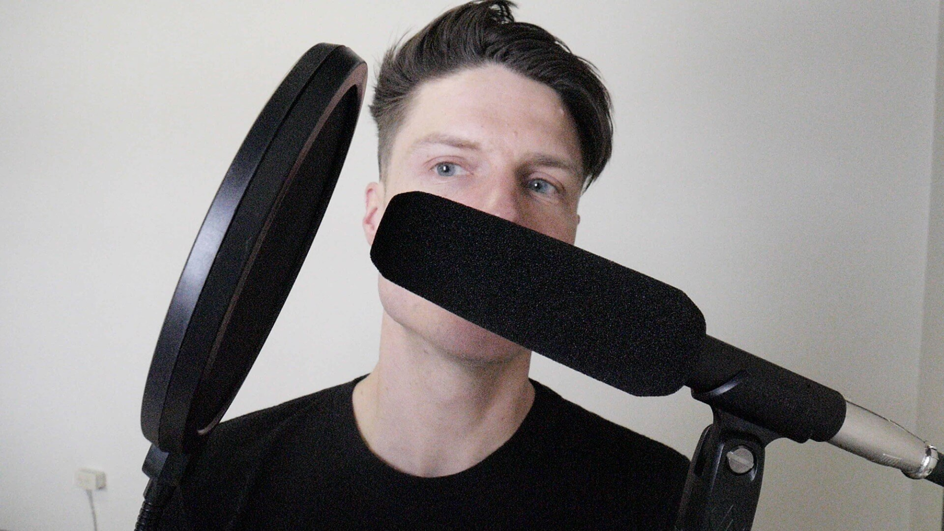 Pop filter should be 1-2 inches from the your dynamic microphone