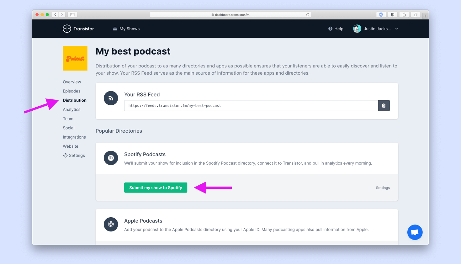 Easily submit your podcast to Spotify and Apple Podcasts